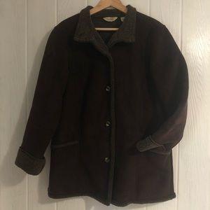 LL Bean Shearling Microsuede Coat L Brown